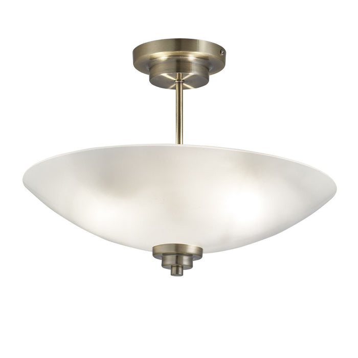 Antique brass finish semi-flush ceiling fitting with frosted glass shade