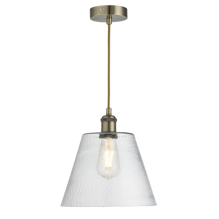 Single, clear, dimpled cone glass ceiling pendant in antique brass finish