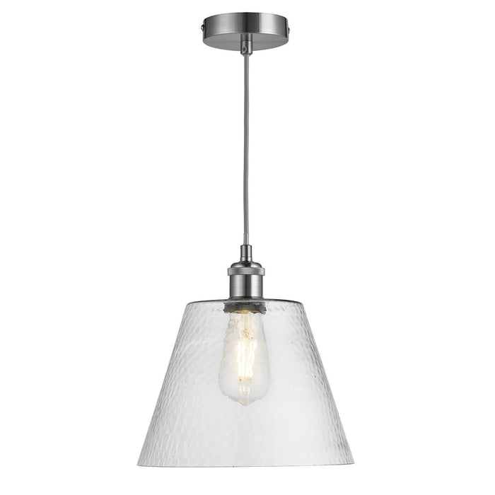 Single, clear, dimpled cone glass ceiling pendant in satin silver finish