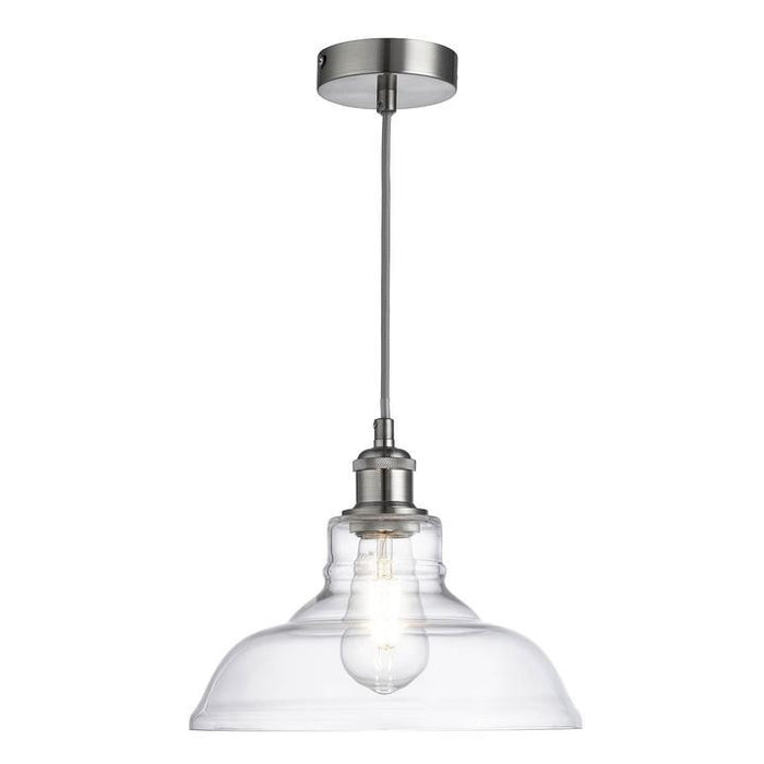 Single, clear glass, ceiling pendant light in satin silver finish