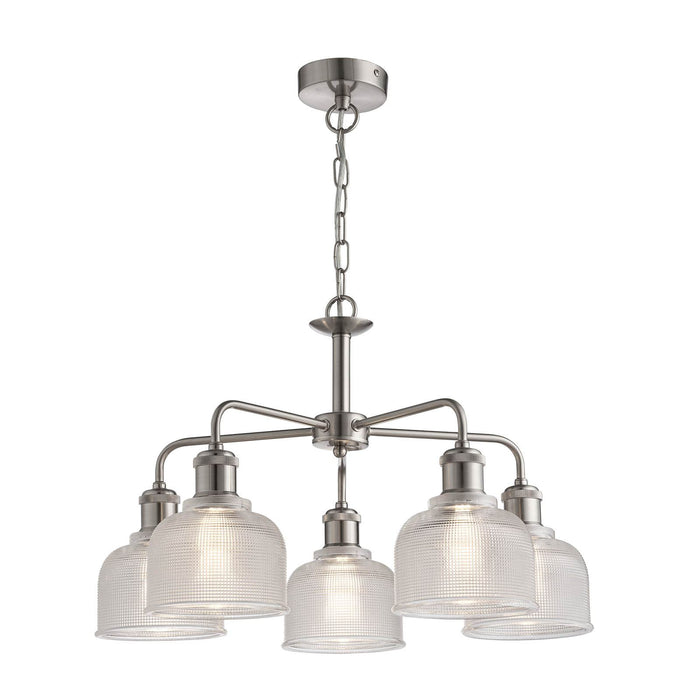 Industrial style 5 light ceiling light with holophane glass shade in satin silver finish