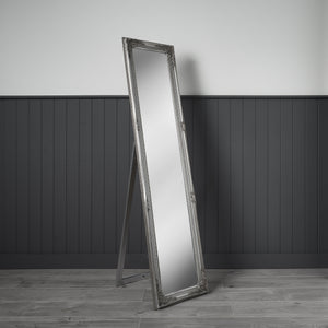 Large, silver coloured, antique style wall / leaner mirror 157cm x 38cm