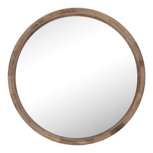 Wood Frame Ledged Round Wall Mirror 80cm