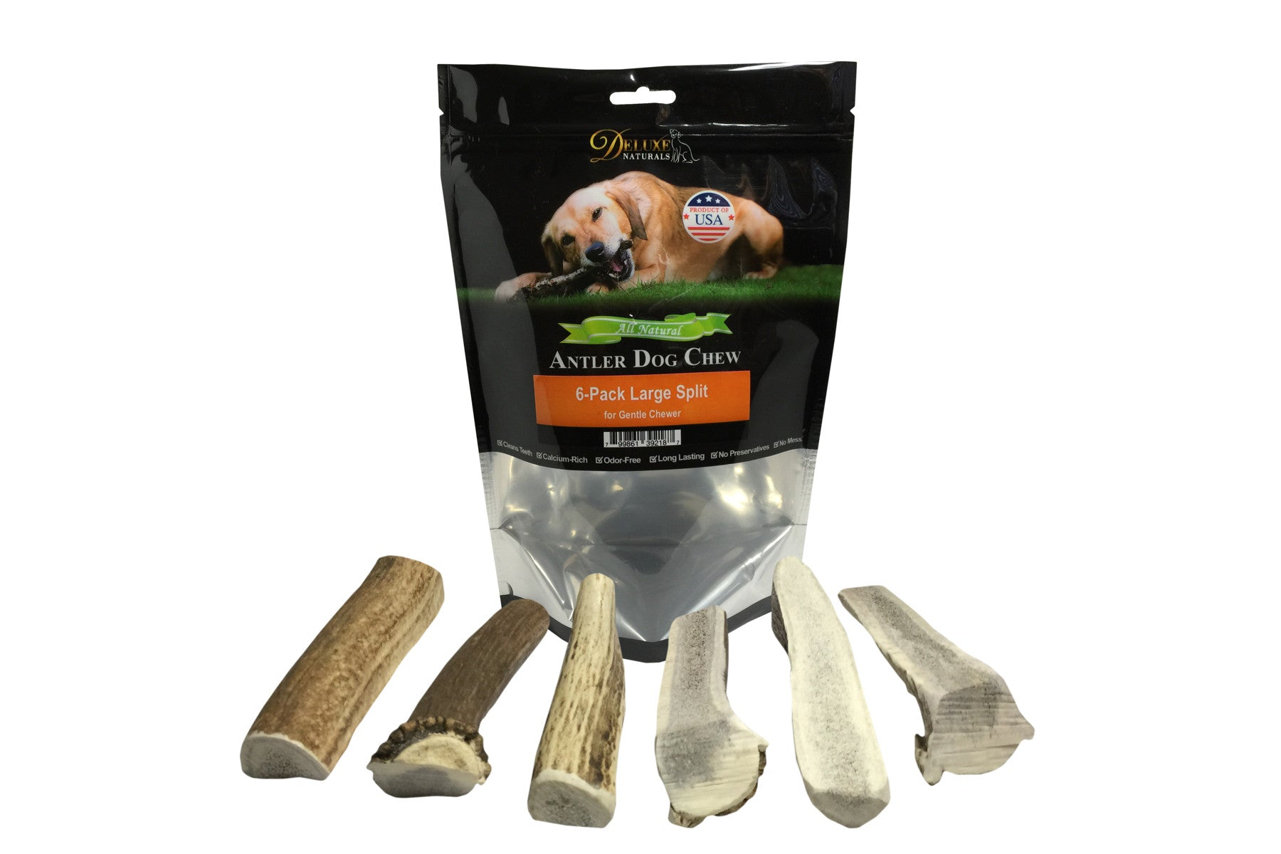 6-Pack Large Split Elk Antler Chew