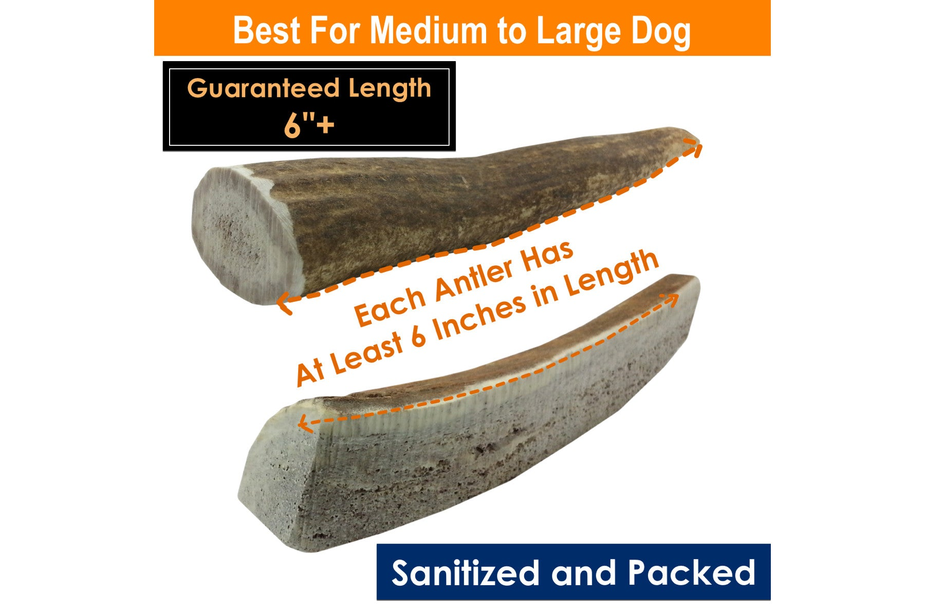 1-LB Pack Large Elk Antler Dog Chews