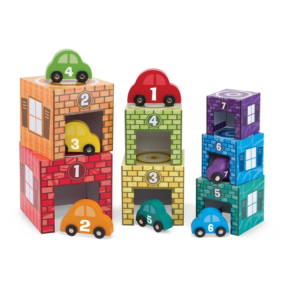 Melissa & Doug: Nesting and Sorting Garages and Vehicles