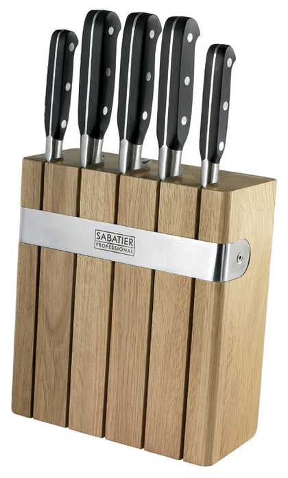 Sabatier Professional 5pc Oak Knife Block Set
