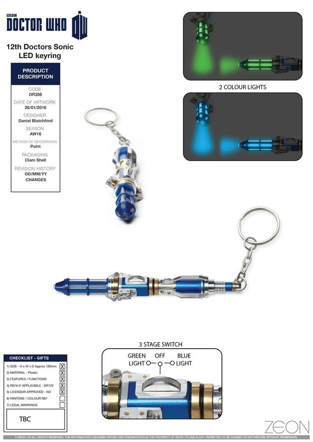 Doctor Who - 12th Doctor's Sonic Screwdriver Light-up Keyring