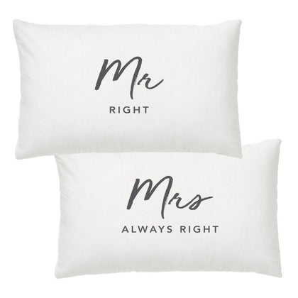 Wedding Pillow Case Set - Mr & Mrs Right