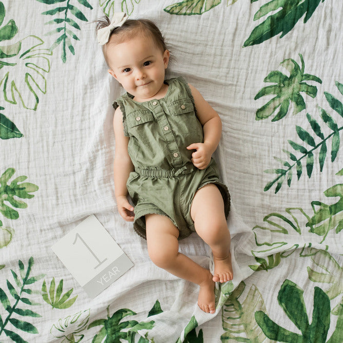 Little Unicorn: Photo Blanket & Milestone Set - Tropical Leaf