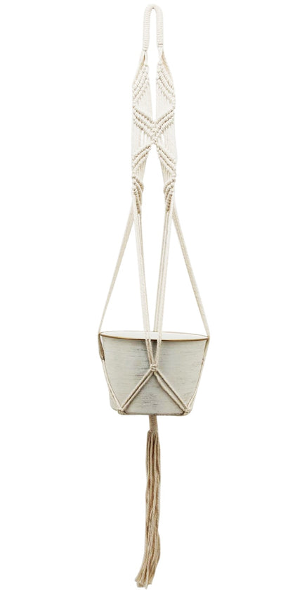 White Gold Boho Hanging Planter