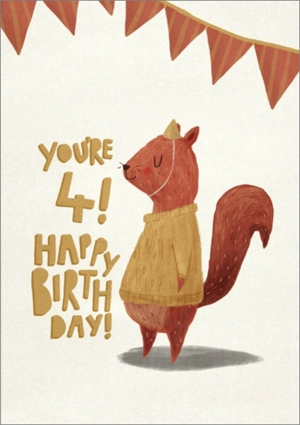 Oh Deer: Birthday Squirrel 4th Birthday Greeting Card