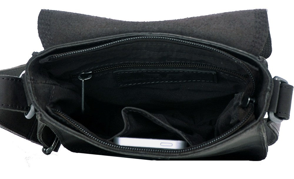 Urban Forest: Little Joe Leather Body Bag - Black