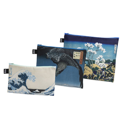 LOQI: Zip Pocket Museum Collection - Hokusai (Set of 3)