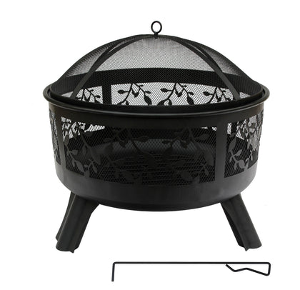 Round Steel Fire Pit with Leaf Design (61x58cm)