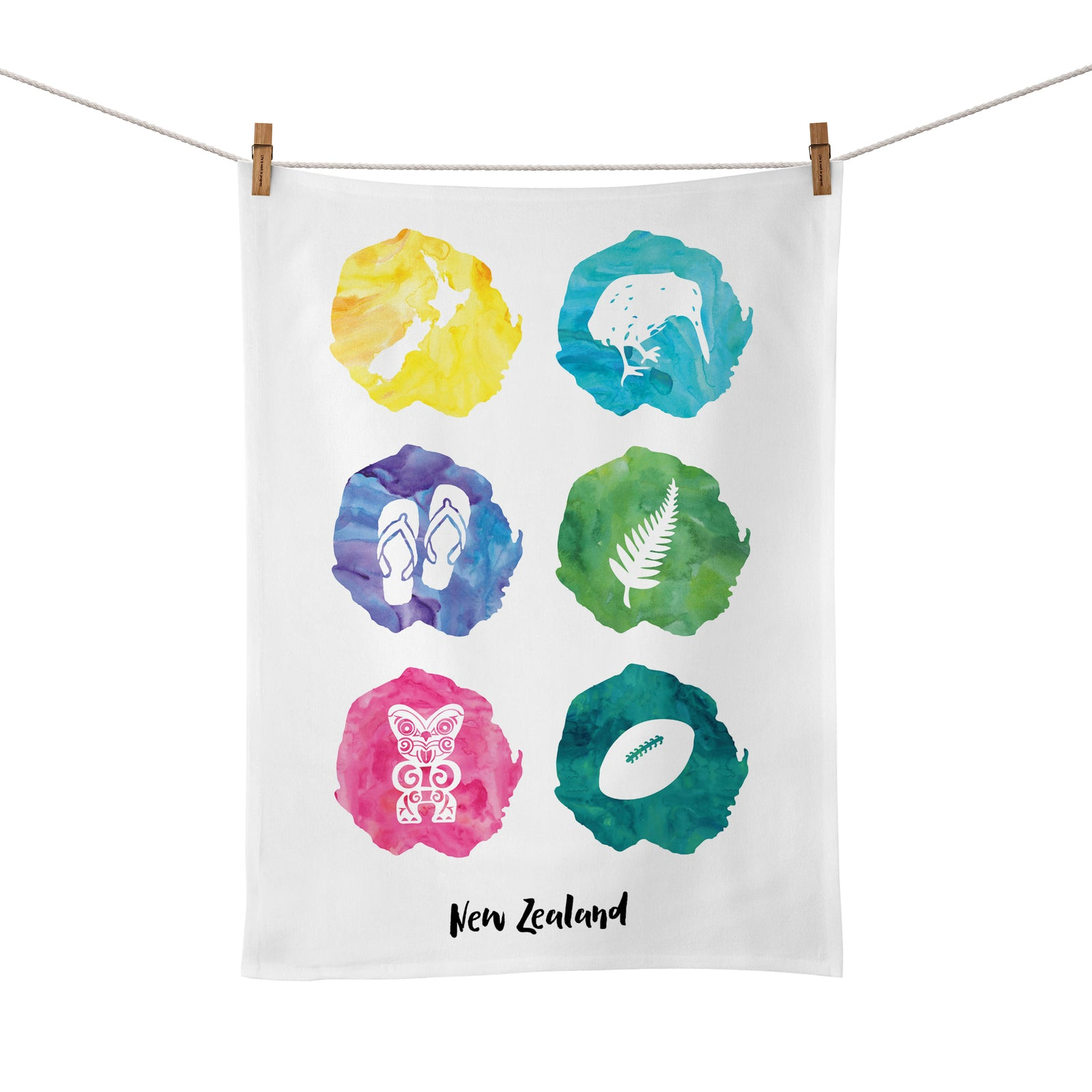 Moana Road: Tea Towel - Kiwiana Watercolours