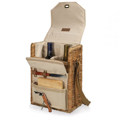 Picnic Time: Corsica Wine & Cheese Picnic Basket (Natural Willow)