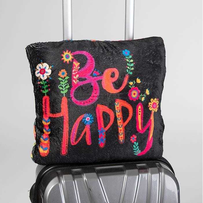 Natural Life: Travel Blanket Pillow - Be Happy