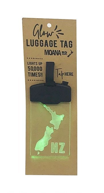 Moana Road: Glow Luggage Tag - NZ Map