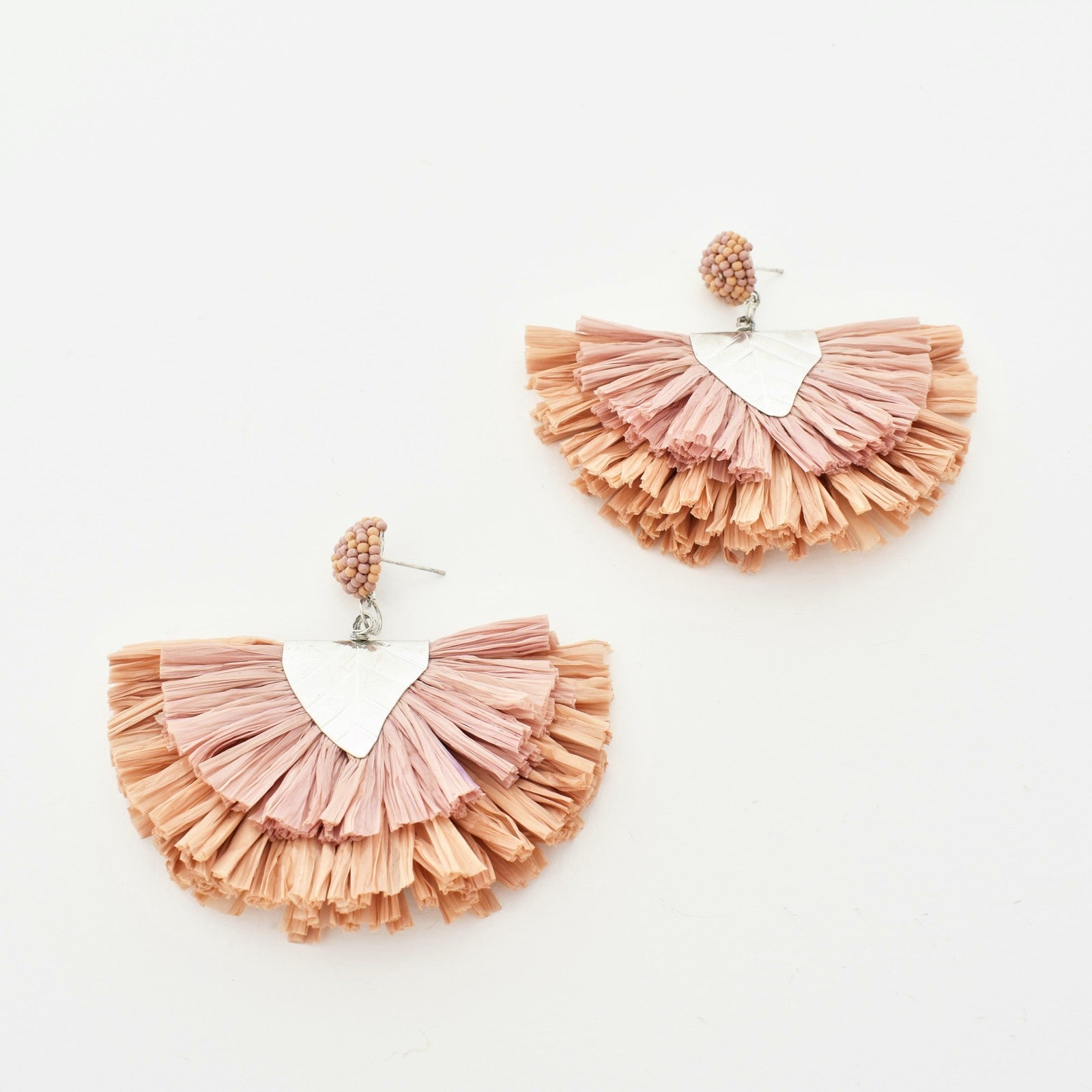 Adorne: Raffia Layered Fringe Earrings - Peach