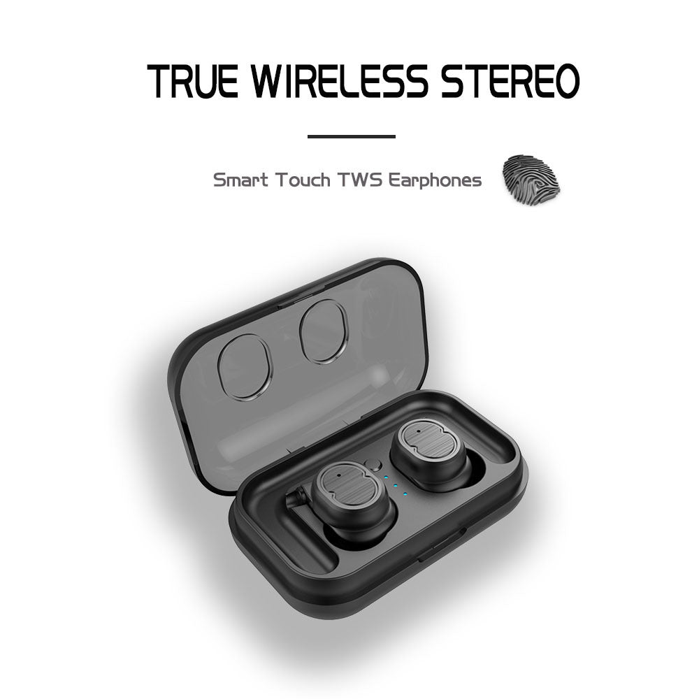 Wireless Stereo Sport Earphones - With Charging Box - White