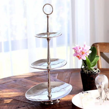 Old Mill Road: 3-Tier Hammered Metal Oval Cake Stand