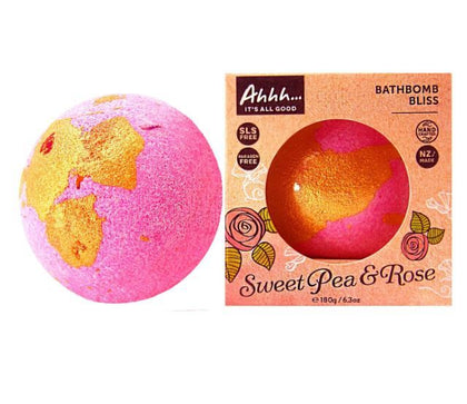 Ahhh Soaps Bath Bomb - Sweet Pea and Rose (180g)