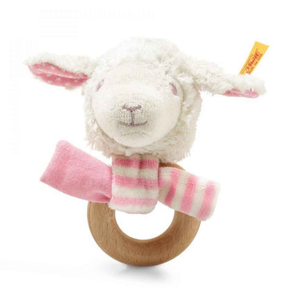 Steiff: Liena Lamb Grip Toy with Rattle - White/Pink