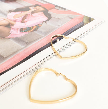 Adorne: Heart Shaped Hoop Earrings - Gold