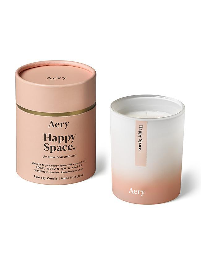Aromatherapy 200g Soy Candle - Happy Space (Rose Geranium Amber)