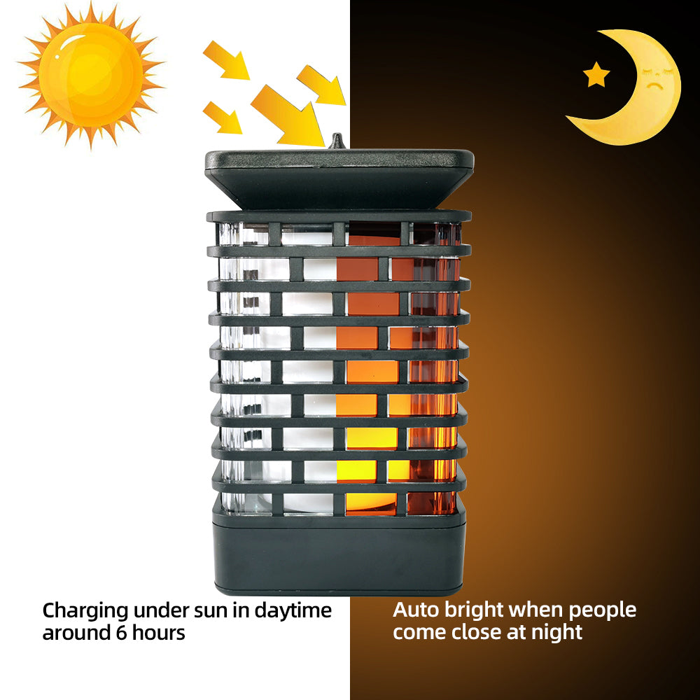 Solar Garden Hanging LED Lantern with Decorative Flickering Flame