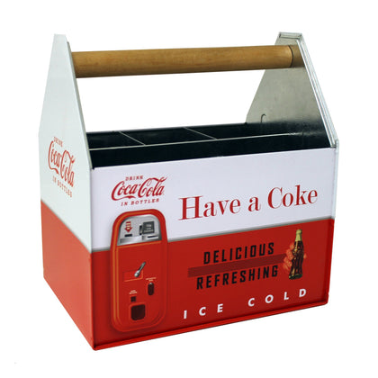 Coke Galvanized Napkin and Utensils Holder