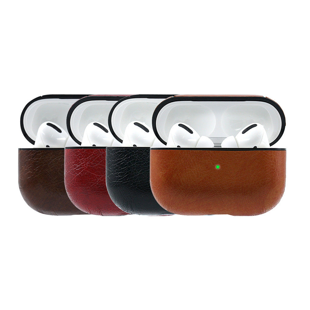 Airpods Pro PU Matte Leather Hook Earphone Case - Brown