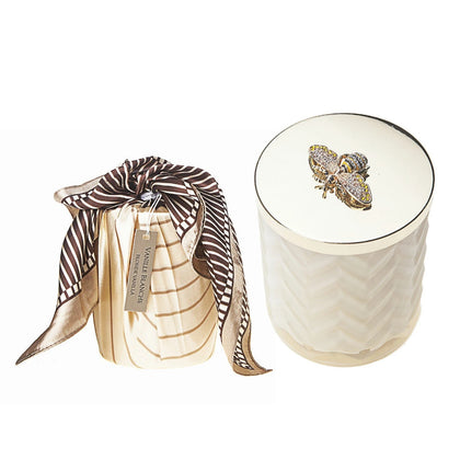 Cote Noire: Herringbone Candle & Scarf Gift Set - Cream (Vanille Blanche)