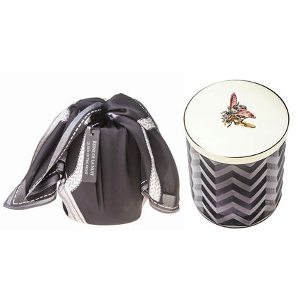 Cote Noire: Herringbone Candle with Scarf - Black