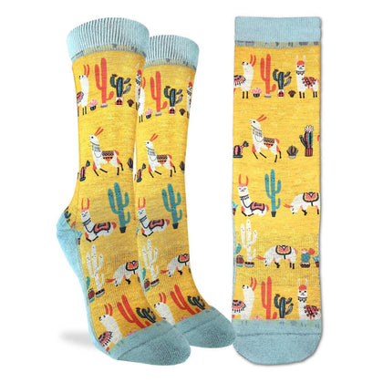 Good Luck Socks: Women's Llamas Socks - Shoe Size 5-9