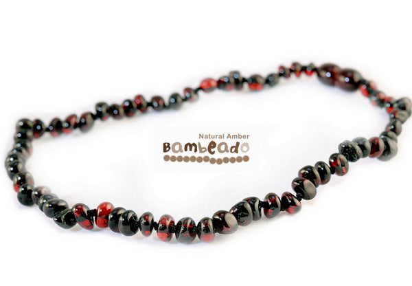 Bambeado Amber Necklace Baby Bud - Dark Cherry