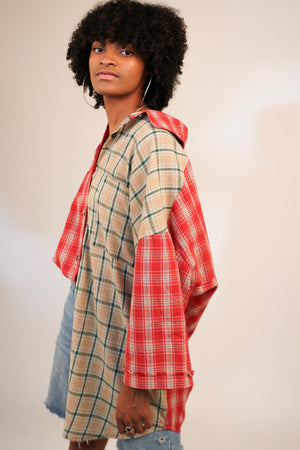Two-Toned Oversize Elongated Flannel