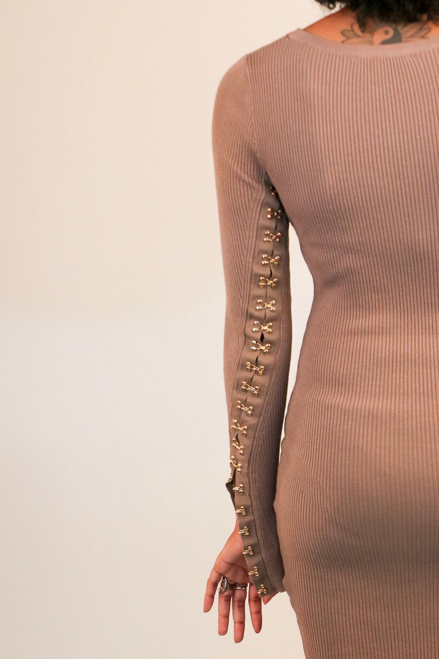 Clasp Sleeve Bodycon Dress