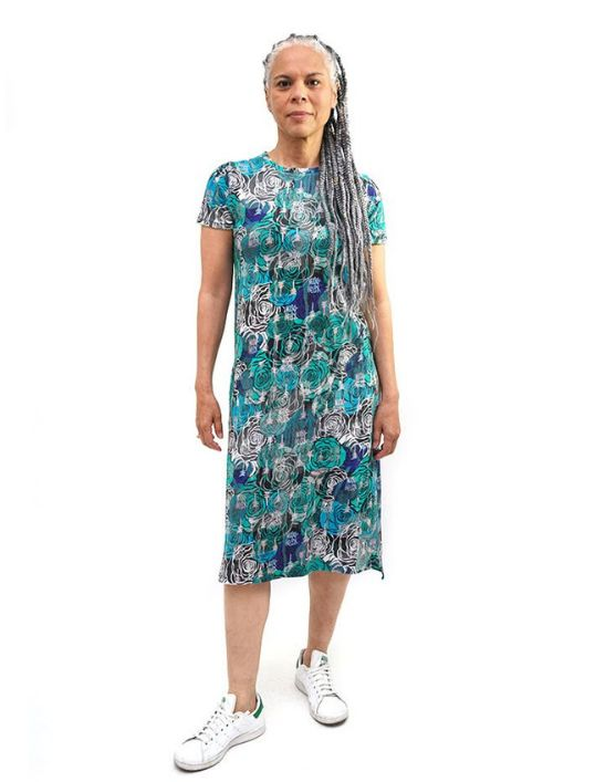 Marine Green Rose T-Shirt Dress