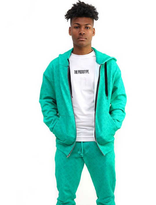 Green Logomania Zip-up Hoodie