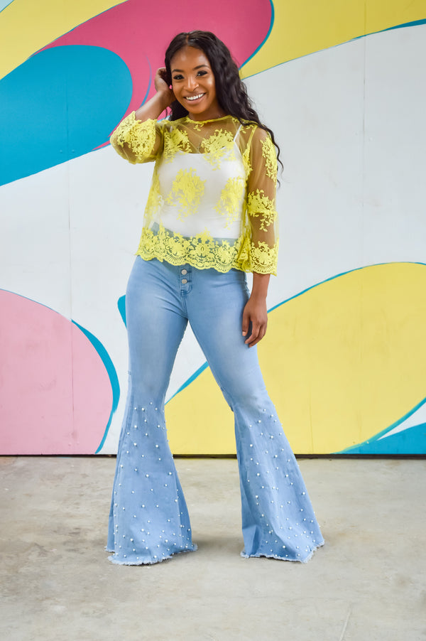 Girls Just Wanna Have Fun | Pearl Bell Bottom Jeans
