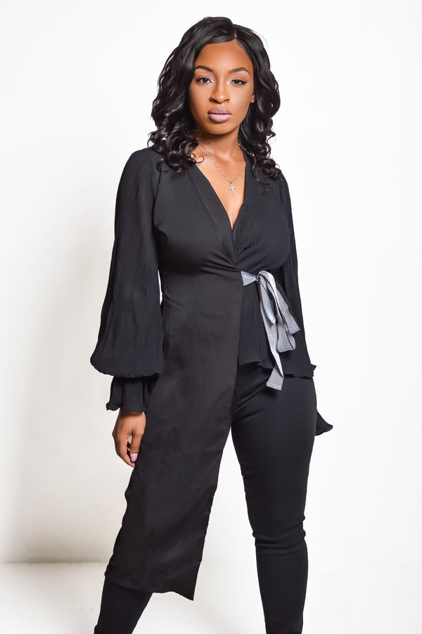 Classy Girl | Pleated Wrap Blouse