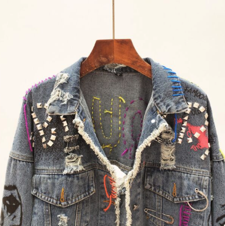 Hers. Vintage Patched Denim Jacket