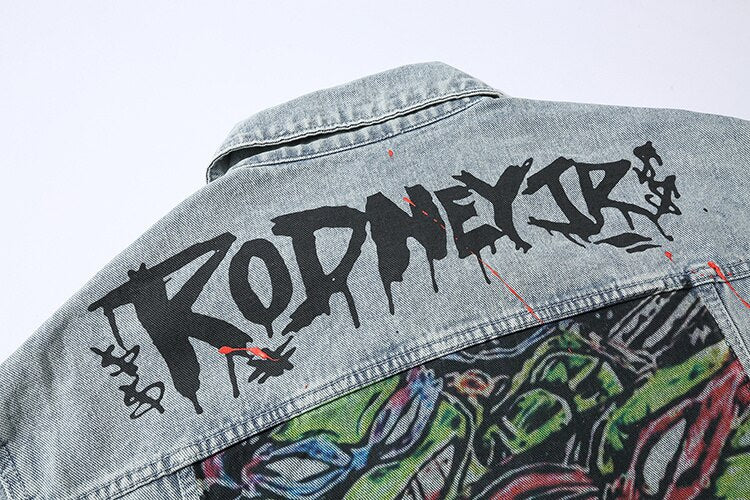 """Who's Your Turtle"" Jacket - Men's Art Denim Streetwear Jacket"
