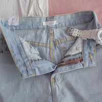 Women's High Waist Wide Leg Cute Heart Embroidery Denim