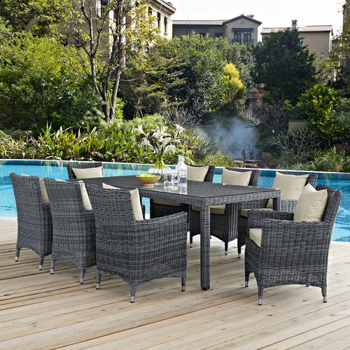 SUMMON 9PC Sunbrella® Outdoor Dining Set