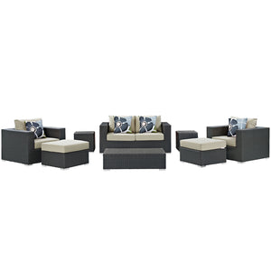 Sojourn 8 Piece Outdoor Patio Sunbrella® Sectional Set