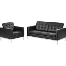 Load image into Gallery viewer, Loft 2 Piece Leather Loveseat and Armchair Set