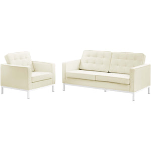 Loft 2 Piece Leather Loveseat and Armchair Set
